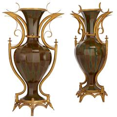 Pair of Rare Gilt Bronze Mounted Antique French Lithyalin Glass Vases
