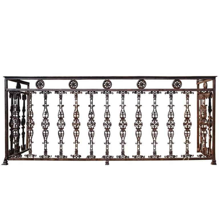 Important Wrought Iron And Cast Iron Balcony Circa 1820