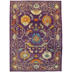 Contemporary Turkish Oushak Rug with Modern Style, Purple Oushak Area Rug