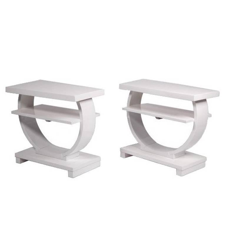 Pair of Art Deco White Lacquer End Tables