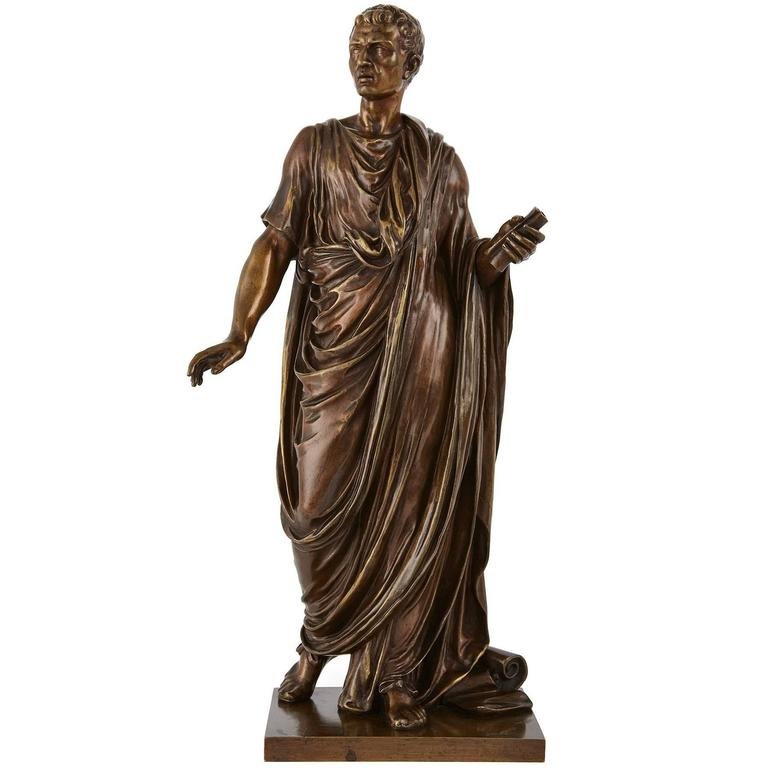 Antique Patinated Bronze Figure of Roman Emperor by Mathurin Moreau