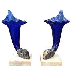 Pair of 19th Century Cobalt Glass Cornucopia Vases