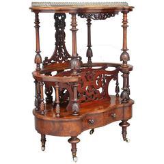19th Century High Victorian Burr Walnut Canterbury