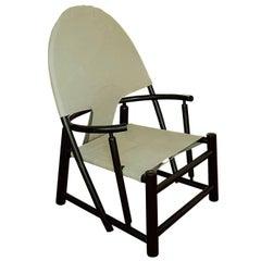 Danish Lounge Chair Curved Black Wood Beige Canvas Scandinavia Late 20th Centur