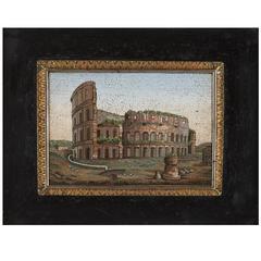 Very Fine Antique Italian Micromosaic Plaque Depicting the Roman Colosseum