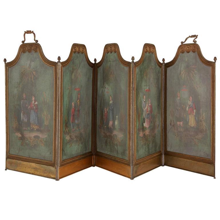 Gilt Bronze-Mounted Mesh Five-Panel Folding Antique Chinoiserie Style Firescreen