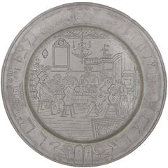Large and Impressive German Antique Finely Engraved Judaica Pewter Seder Plate