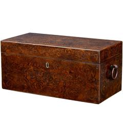 19th Century William IV Yew Wood Inlaid Tea Caddy