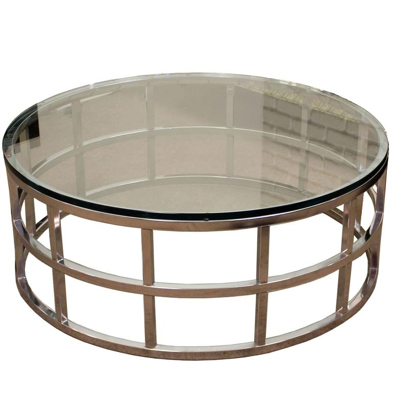 Mid Century Milo Baughman Style Dia Round Chrome And Glass Coffee Table 1970 At 1stdibs