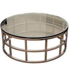 Mid-Century Milo Baughman style DIA Round Chrome & Glass Coffee Table 1970
