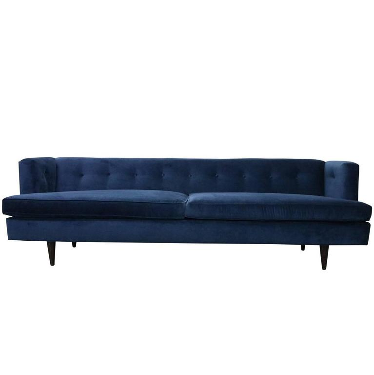 Mid Century Modern Edward Wormley For Dunbar Tuxedo Sofa In Navy