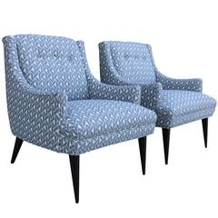 Pair of Mid-Century Modern Armchairs with Grey and White Geometric Upholstery
