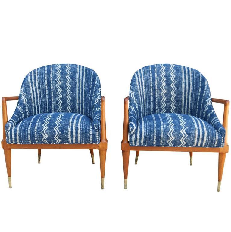 Pair Of Mid Century Modern Armchairs With Indigo Mudcloth Shibori