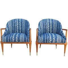 Pair of Mid-Century Modern Armchairs with Indigo Mudcloth/Shibori Fabric
