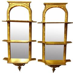 Good Pair of Victorian Gilt Pier Mirrors with Shelves C.1850