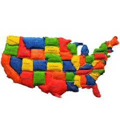 Giant Soft Sculpture Map of USA by Michelle Gamm Clifton
