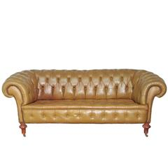Chesterfield Sofa in Olive Green Leather