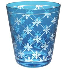 Modern Hand-Blown Crystal Goblet in Blue