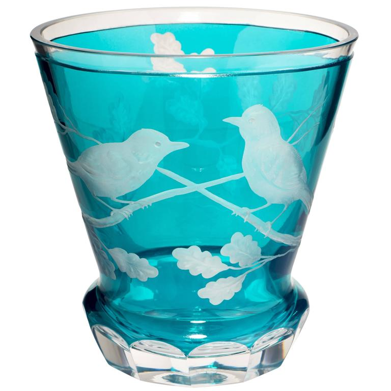 Modern Crystal Vase In Blue Glass With Hand Carved Birds And Oak