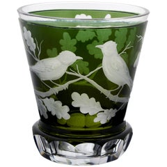 Country Style Crystal Vase Green Glass Birds Decor Sofina Boutique Kitzbuehel