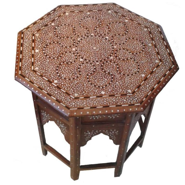Superior Bone Inlaid Wood Table From India For Sale