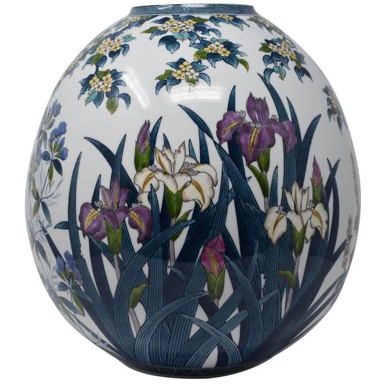 Contemporary Hand-Painted Decorative Large Porcelain Vase by Master Artist