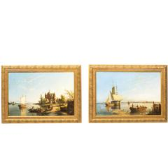 """Antique Pair Oil Paintings """"Zonnenbergh on the Spaarn"""" W R Dommersen, 1889"""