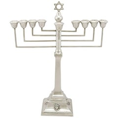 1930s Antique Sterling Silver Hanukkiah