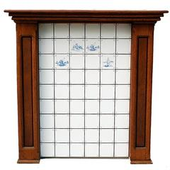 Oak Fireplace Surround with Tiled Central Panel, Late 20th Century