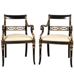 Pair of Maitland-Smith Regency Style Armchairs