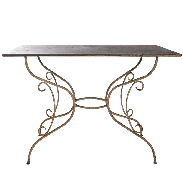 Iron and Steel Garden Table For Sale