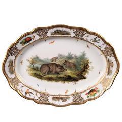 Antique Meissen Hunt Themed Platter Depicting Boars