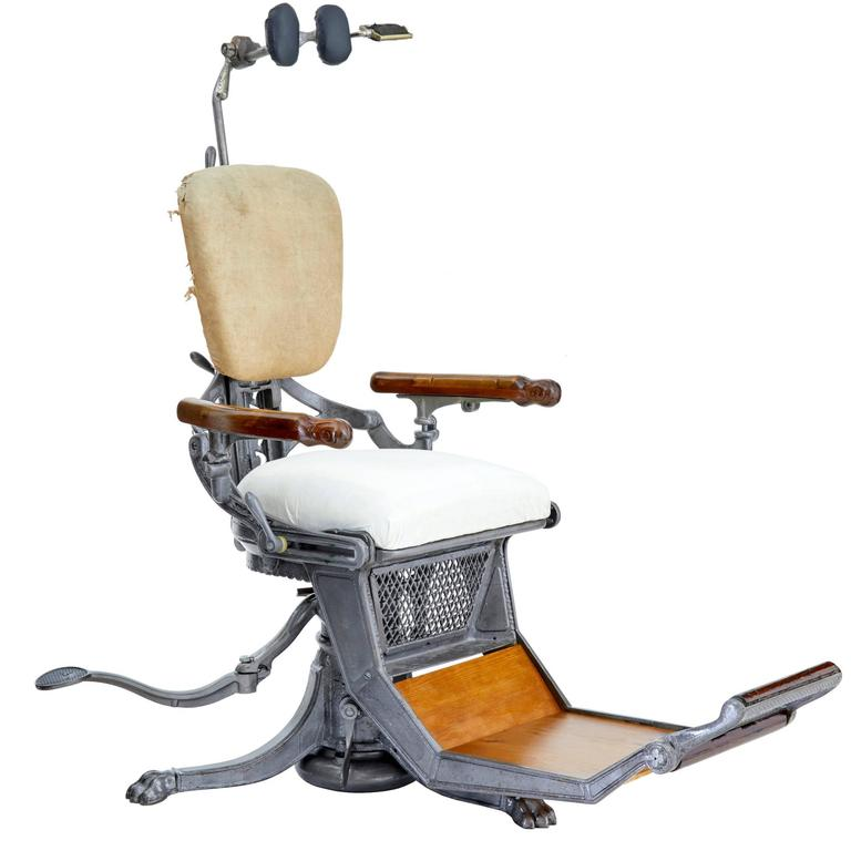19th Century American Decorative Cast Iron Dentist Chair For Sale