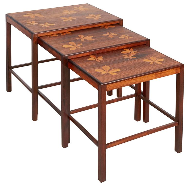 Rosewood Nesting Tables with Chestnut Inlay 1