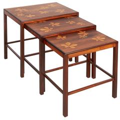 Rosewood Nesting Tables with Chestnut Inlay