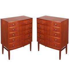 Kai Kristiansen Teak Mini Dressers, Pair