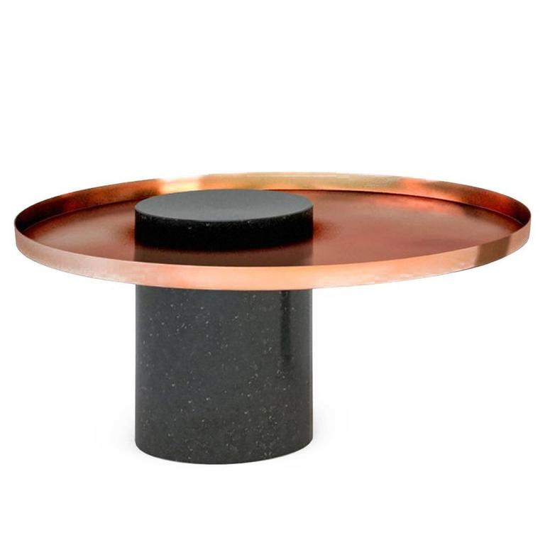 Low Salute Coffee Table, Black Marble, Copper Tray