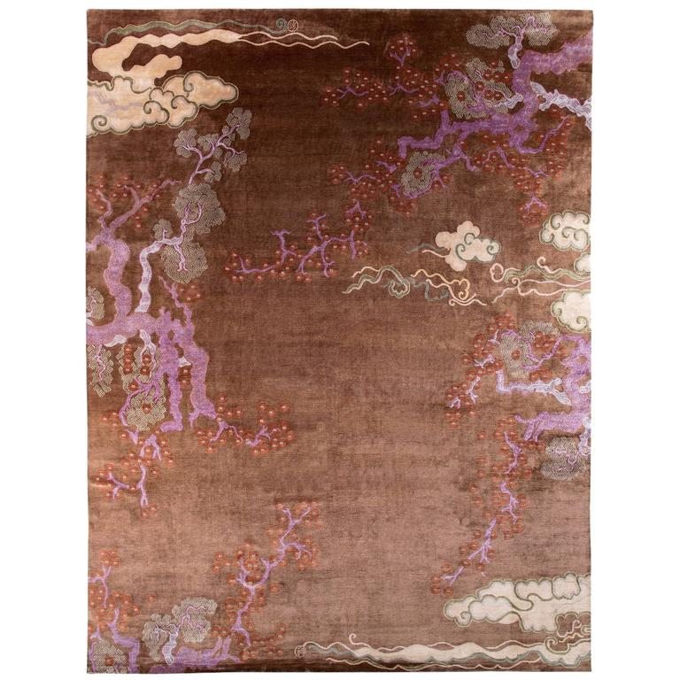 Contemporary Oriental Silk Area Rug Tibetan Weave 12x16 Natural Dyes