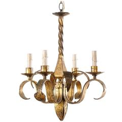 French Modern Four-Light Gold Colored Chandelier with Curling Leaf Motifs