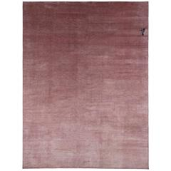Powder Pink Silk Area Rug with Hummingbird Detail