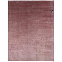 Powder Pink Silk Area Rug with Hummingbird Detail