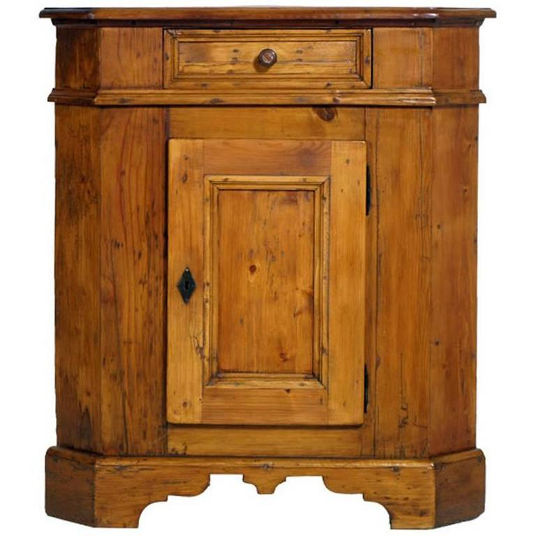 Early 20th Century Tyrol Country Corner Rustic Cupboard Solid Wood Pine  Restored For Sale