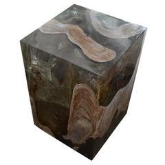 Andrianna Shamaris St. Barts Aqua and Cerused Teak Wood Side Table