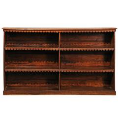 19th Century English Pollard Oak Bookcase with Naive Carving