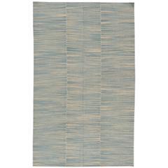 21st Century Contemporary Blue/Beige Textured Turkish Kilim Rug