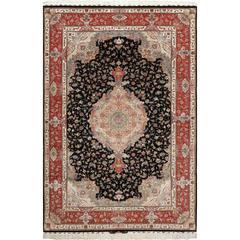 Black Background Vintage Tabriz Persian Rug