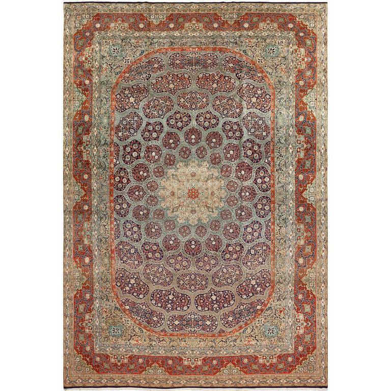 Large Vintage Tabriz Persian Rug
