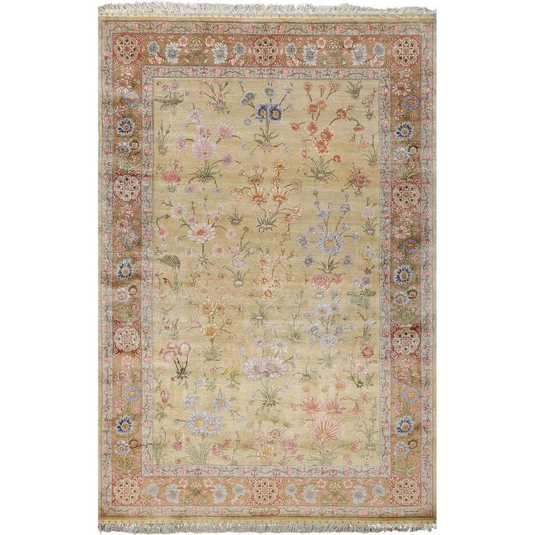 Silk Shahsavarpour Design Vintage Tabriz Persian Rug