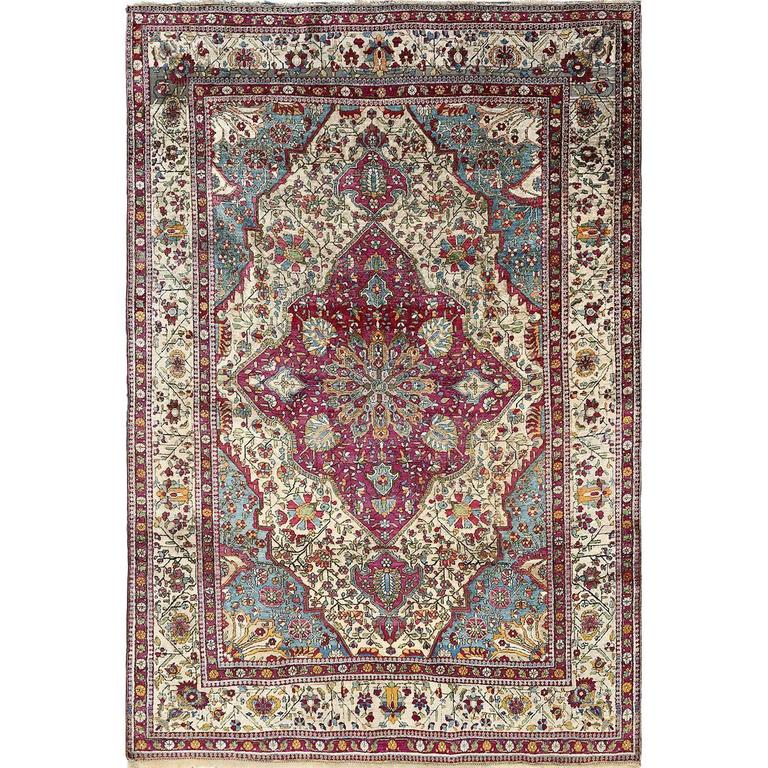 Persian Rug House: Antique Silk Mohtasham Kashan Persian Rug For Sale At 1stdibs