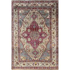 Antique Silk Mohtasham Kashan Persian Rug
